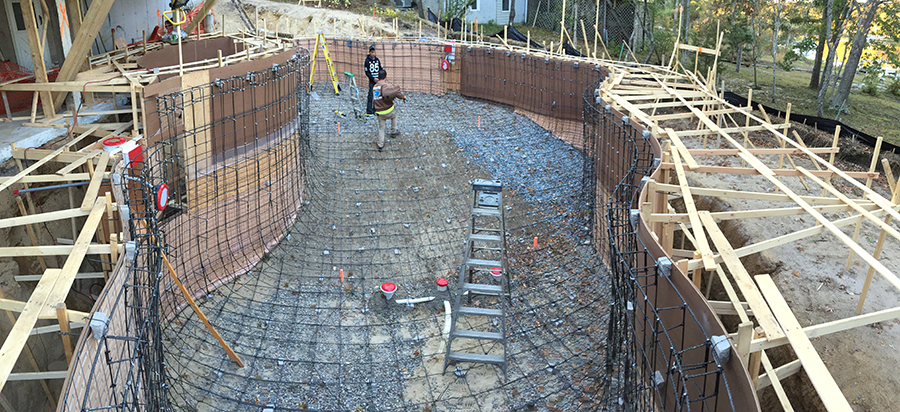 Swimming pool construction using basalt rebar basalt guru for Concrete swimming pool construction