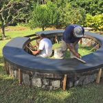 basalt rebar used in fire pit construction