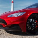 Tesla Model S with basalt fiber front bumper