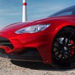 Tesla Model S with basalt fiber front bumper