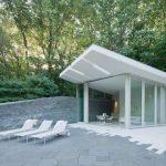 Concrete pool house, joel sanders architect